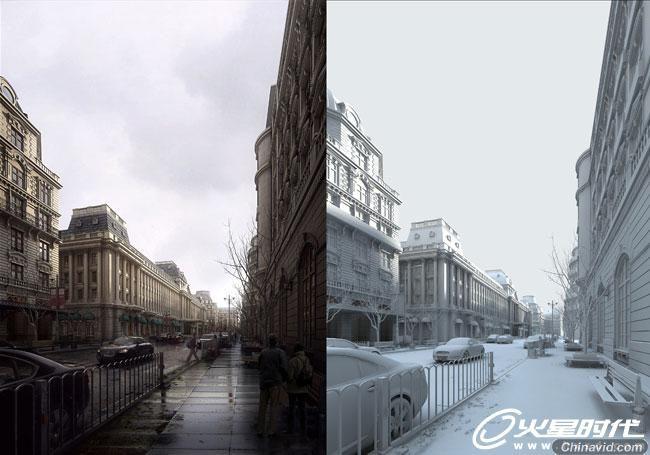 cgtalk五星作品典雅欧式建筑 雨街 制作解