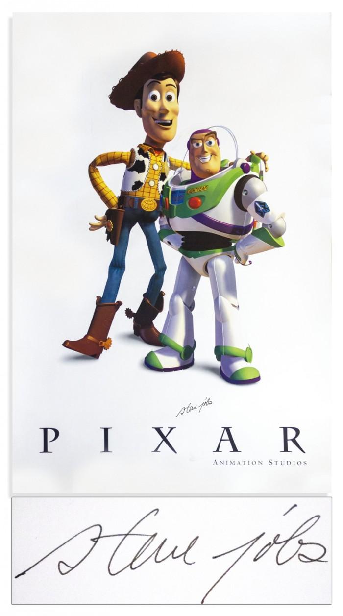 乔布斯签名的皮克斯动画海报将在本周拍卖:2.5万美元起拍