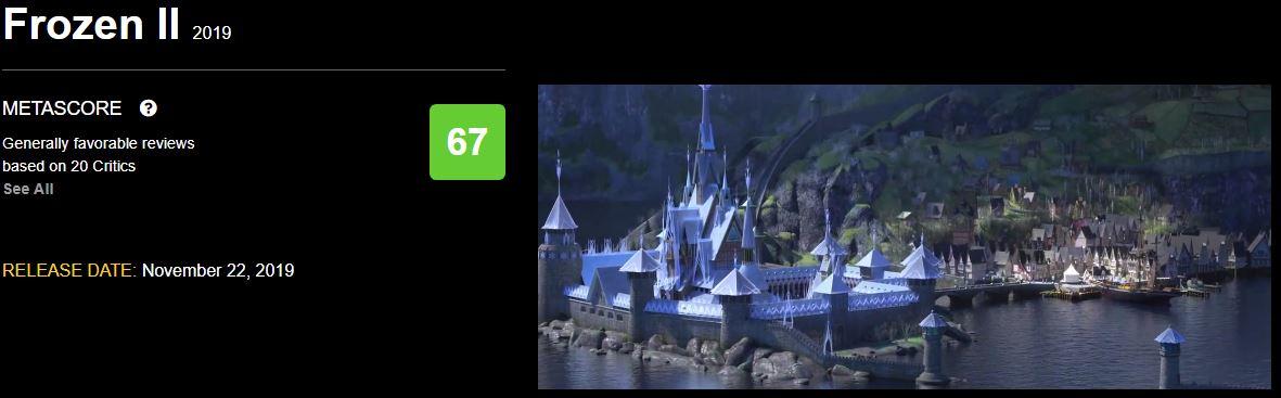 迪士尼动画电影《冰雪奇缘2》媒体口碑解禁 烂番茄81% M站均分67