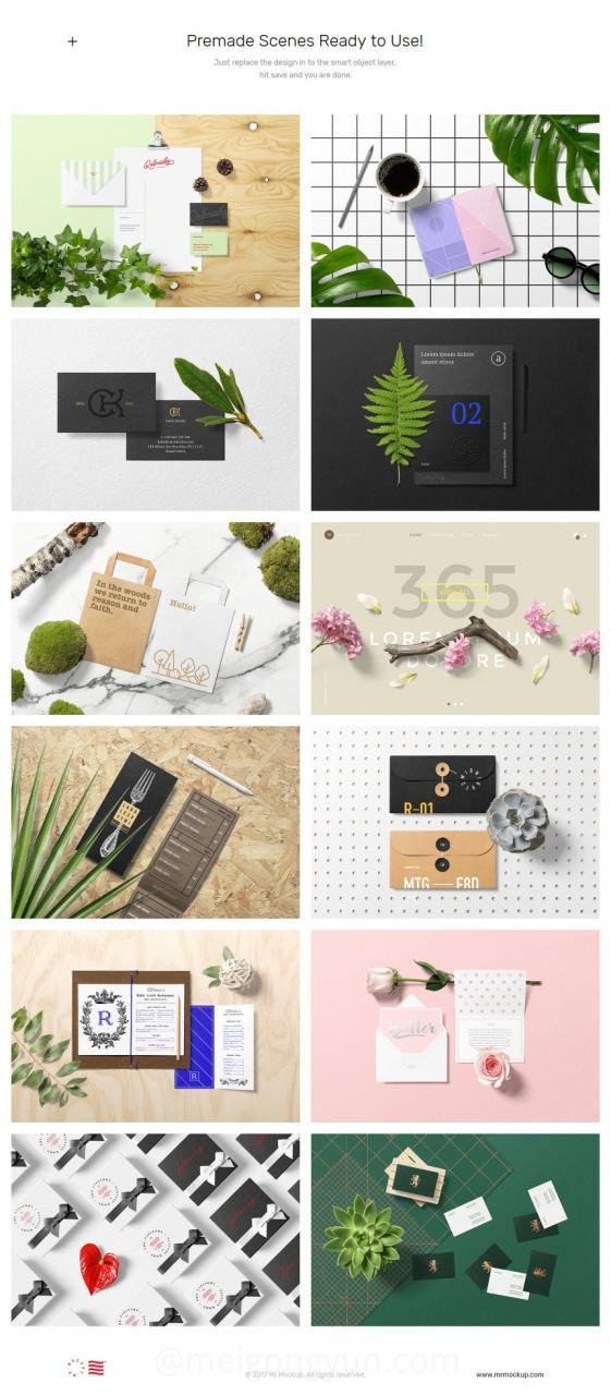 1.8G超高质量花卉+品牌提案样机素材合辑包spring Floral Mockups + Stationery Pack